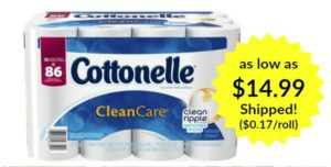 Cottonelle CleanCare Family Roll Toilet Paper Bath Tissue as low as $0.17 per roll Shipped!