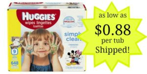 Huggies Simply Clean Baby Wipes as low as $0.88 per Tub Shipped!