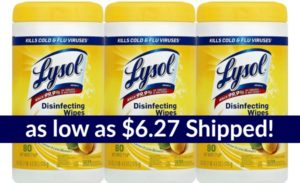 Lysol Disinfecting Wipes 240ct as low as $6.27 Shipped! ($0.78 per 30ct tub)