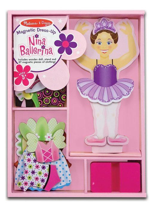 Melissa & Doug Deluxe Nina Ballerina Magnetic Dress-Up Wooden Doll