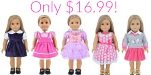 Set of 5 Outfits for 18-Inch Dolls Only $16.99!