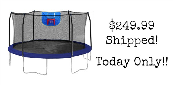 15-Feet Jump N' Dunk Trampoline with Safety Enclosure and ...