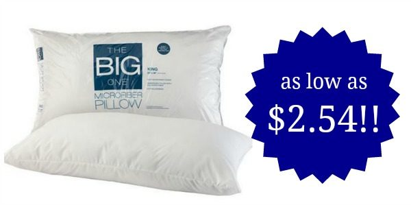 the big one microfiber pillows as low as become a coupon queen. Black Bedroom Furniture Sets. Home Design Ideas