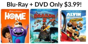 Home, How to Train Your Dragon 2 and Alvin & The Chipmunks: The Road Trip DVD + Blu-Ray Only $3.99!