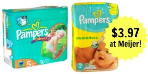 Meijer: Pampers Jumbo Pack Diapers Only $3.97!
