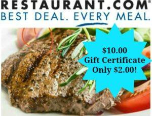 $10 Restaurant.com Gift Certificate Only $2!