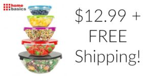 10 Piece Glass Mixing and Storage Bowl Set with Colored Lids – $12.99 + FREE Shipping!
