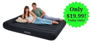 Intex Pillow Rest Classic Airbed with Built-in Pillow and Electric Pump, Queen – $19.99 Today Only!