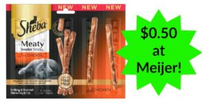 Meijer: Sheba Meaty Tender Sticks Cat Treats Only $0.50!