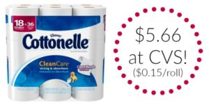 CVS: Cottonelle Clean Care 18 Double Rolls Only $5.66! ($0.15/roll)