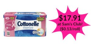 Sam's Club: Cottonelle Clean Care 45 Family Rolls Only $17.91! ($0.13/roll)