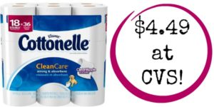 CVS: Cottonelle Clean Care 18 Double Rolls Only $4.49! ($0.12/roll)