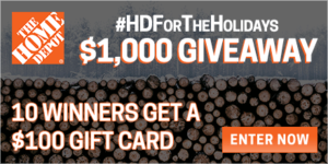 $100 Home Depot Gift Card Giveaway – 10 Winners! (ends 12/14)