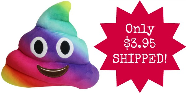 Rainbow Poop Emoji Pillow Only $3.65 SHIPPED!
