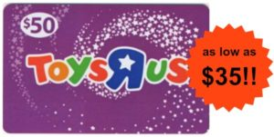 $50 Toys R Us Gift Card as low as $35!