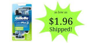 Gillette Customplus 3 Sensitive Men's Disposable Razor 4-Count as low as $1.96 Shipped!