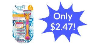 Gillette Simply Venus Refillable 3 Blade Razor with 4 Cartridges Only $2.47!!