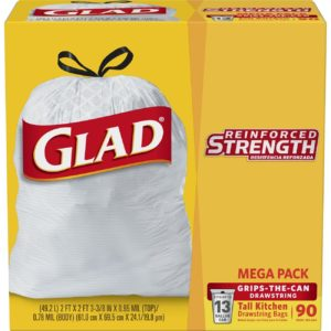 Glad Tall Kitchen Drawstring Trash Bags, 13 Gallon, 90 Count Only $8.99! ($0.10/bag)
