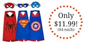 Set of 3 Superhero Dress Up Costumes and Masks Only $11.99! ($4 Each)