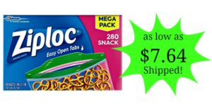 Ziploc Snack Bags, 280 Count as low as $7.64 Shipped!