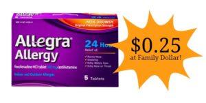 Family Dollar: Allegra Allergy Tablets Only $0.25!