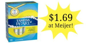 Meijer: Tampax Pearl Tampons Only$1.69!