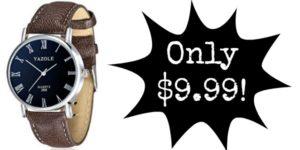 Men's Quartz Movement Waterproof Watch Only $9.99!