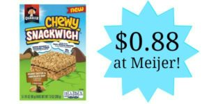 Meijer: Quaker Chewy Snackwiches Only $0.88!