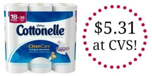 CVS: Cottonelle Clean Care 18 Double Rolls Only $5.31! ($0.14/roll)