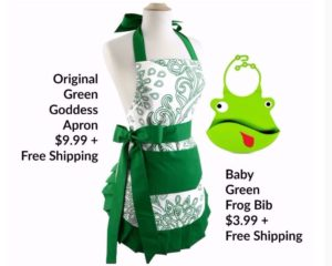 Flirty Aprons Flash Sale – Green Goddess Apron $9.99, Green Frog Bib $3.99 – FREE Shipping!