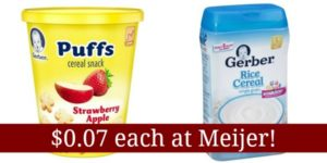 Meijer: Gerber Puffs Snack Cups and Gerber Rice Cereal Only $0.07!