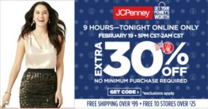 JCPenney Sale – Extra 30% Savings on ANY Purchase! Tonight Only!