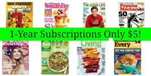 1-Year Magazine Subscriptions Only $5!