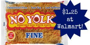 Walmart: No Yolks Pasta Only $1.25!