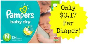 Pampers Baby Dry Diapers Only $0.17 per Diaper SHIPPED!