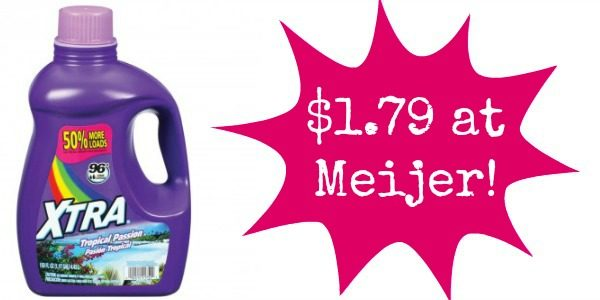 image relating to Xtra Laundry Detergent Printable Coupon called Meijer: Xtra Laundry Detergent Basically $1.79! - Turn into a Coupon