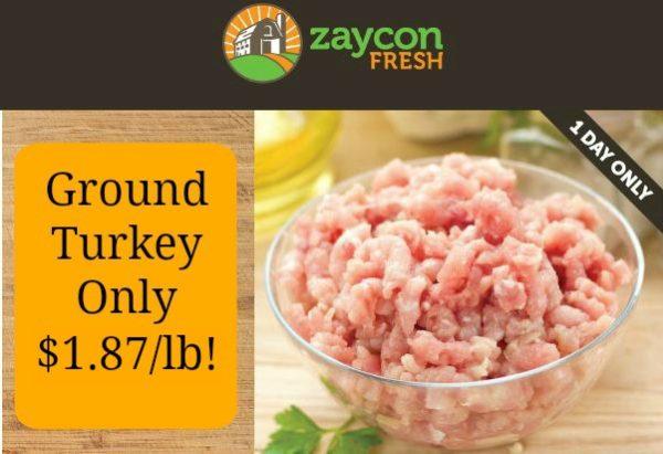 zaycon ground turkey flash sale.