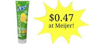 Meijer: Zest Fruitboost Shower Gels Only $0.47!