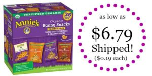 Annie's Organic Variety Pack 36-Count as low as $6.79 Shipped! ($0.19 each)