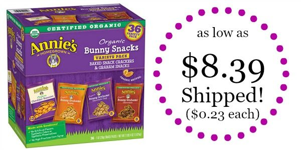 Annie's Organic Variety Pack, Cheddar Bunnies and Bunny Graham Crackers Snack Packs, 36 Pouches