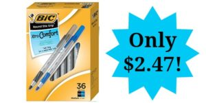 BIC Round Stic Grip Xtra Comfort Ball Pen 36-Count Only $2.47!
