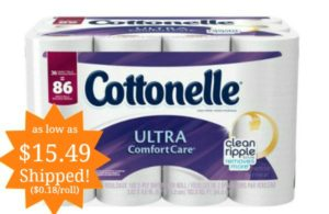 Cottonelle Ultra ComfortCare Toilet Paper 36 Family Rolls as low as $15.49 ($0.18 per Single Roll)!
