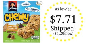 Quaker Peanut Butter Chocolate Chip Chewy Granola Bars Pack of 6 as low as $7.71 Shipped! ($1.29/box)