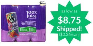 V8 V-Fusion Pomegranate Blueberry 24-pack as low as $8.75 Shipped! ($0.36/can)