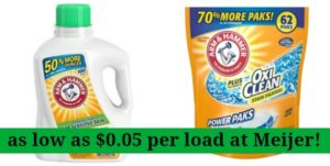 Meijer: Arm & Hammer Laundry Detergent as low as $0.05 per Load!