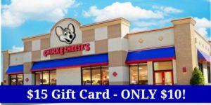 $15 Chuck-E-Cheese Gift Card Only $10!