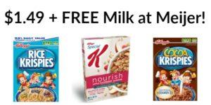 Meijer: Kellogg's Cereal Only $1.49 + FREE Milk!