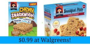 Walgreens: Quaker Breakfast Flats and Chewy Snackwiches Only $0.99!