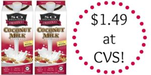 CVS: So Delicious Dairy Free Milk Only $1.49!