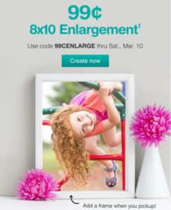 $0.99 8×10 Photo + FREE Store Pick Up from Walgreens!